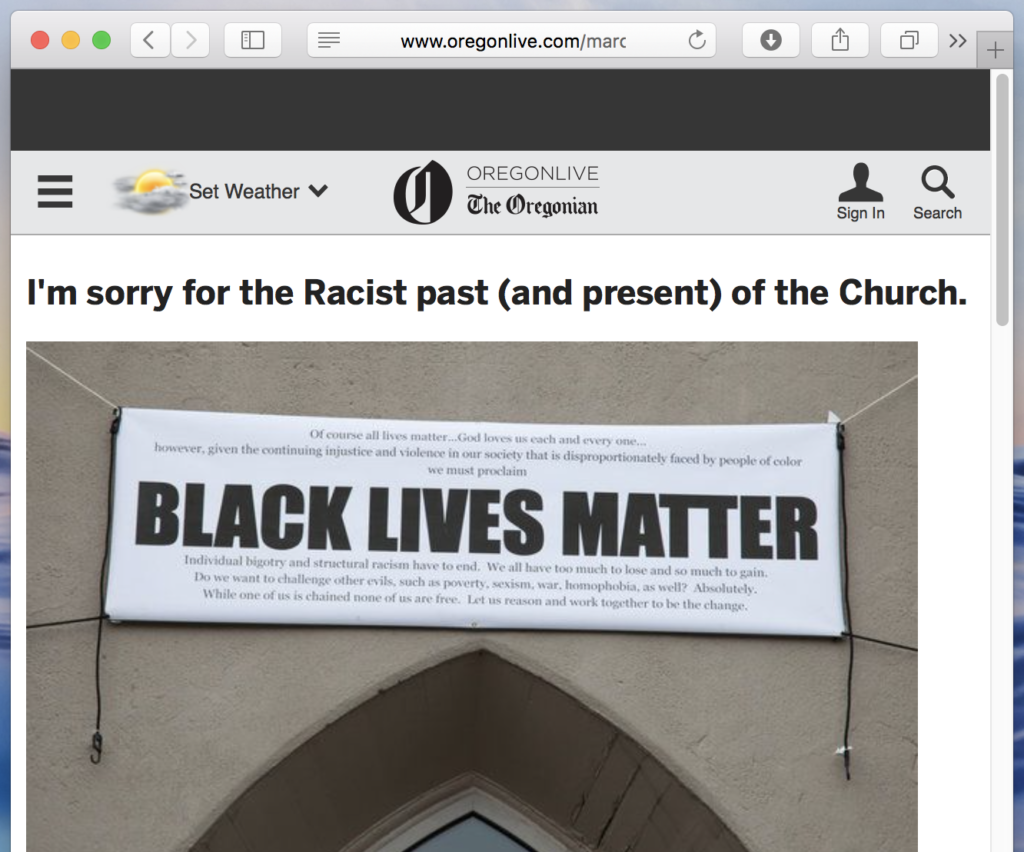 I'm sorry for the Racist past (and present) of the Church.