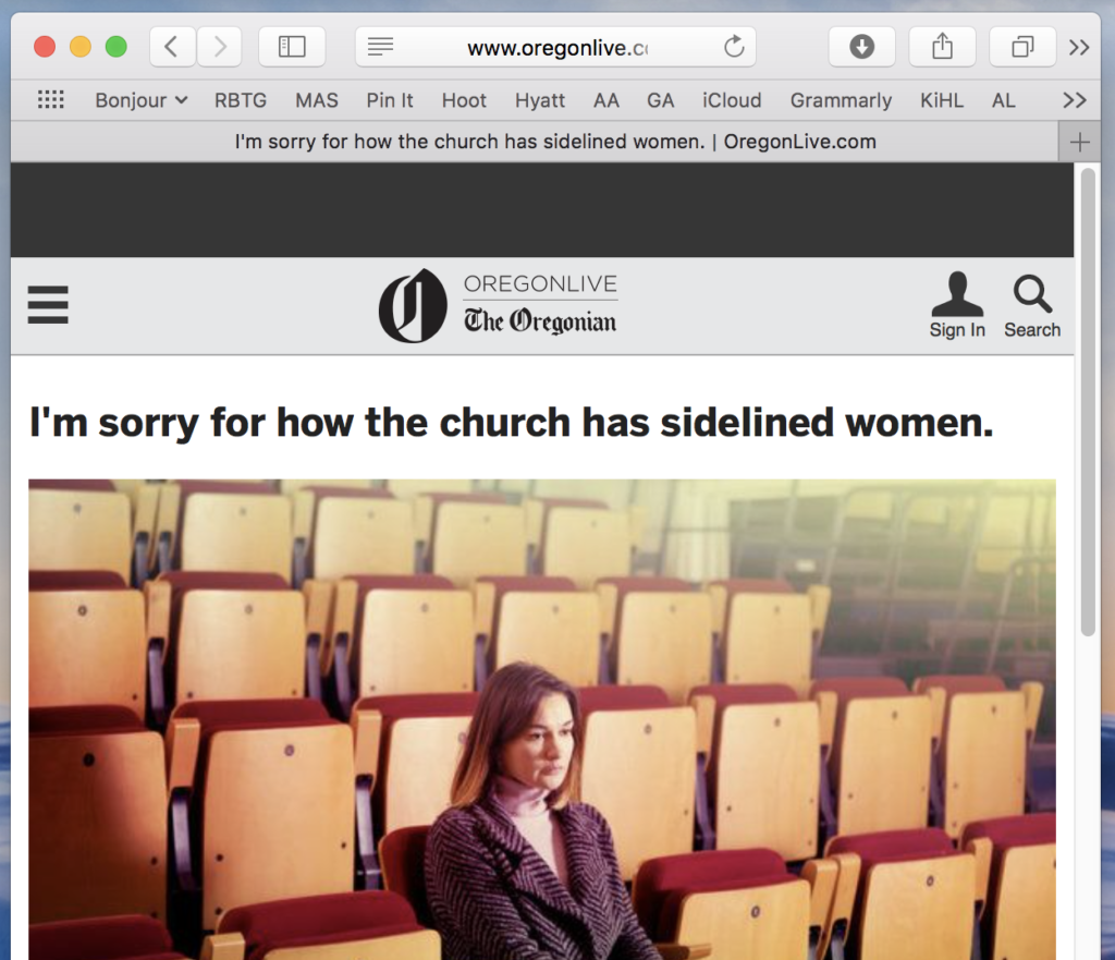 I'm sorry for how the church has sidelined women.